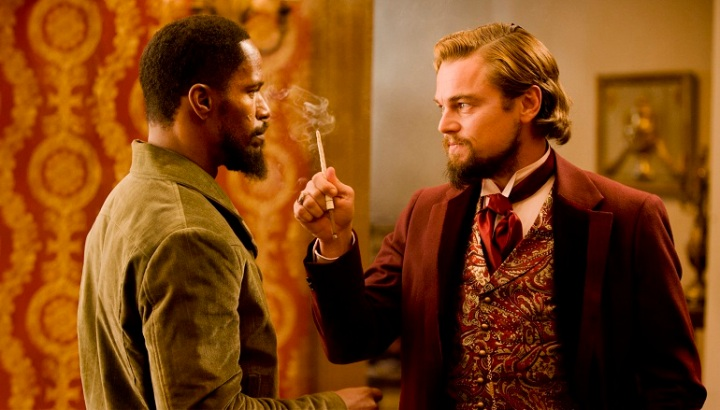 Jamie Foxx as Django and Leonardo DeCaprio as Calvin Candie in DJANGO UNCHAINED.
