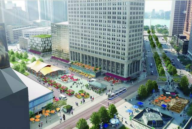 Rendering of Dan Gilbert's vision for a redesigned Cadillac Square as a walking mall filled with new shops and attractions.
